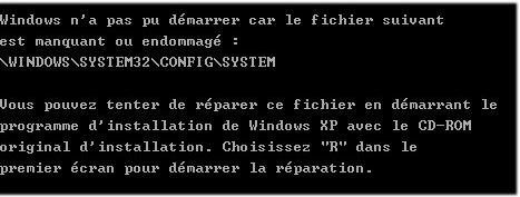 fichier manquant windows system32 config system