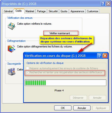 comment reparer les cluster d'un disque dur